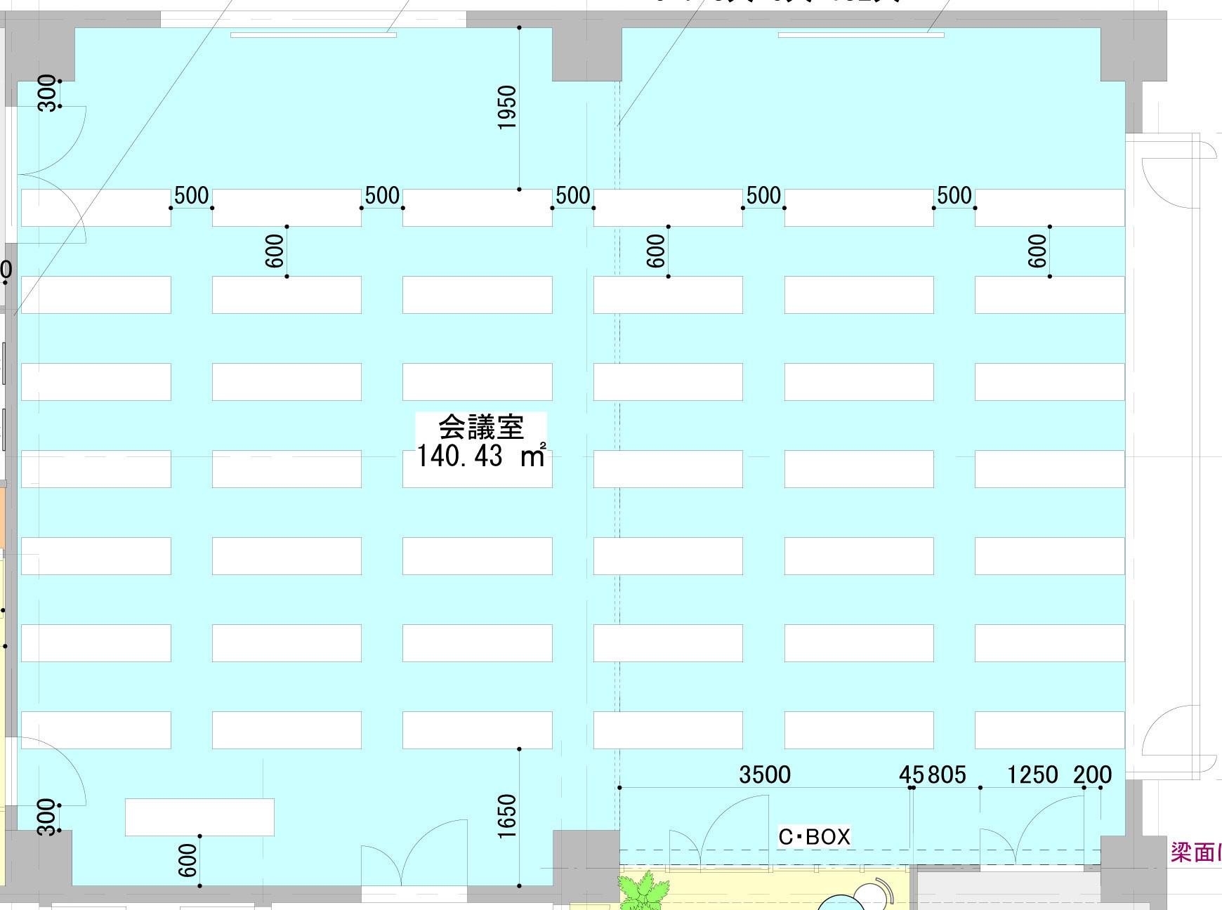 大会議室&スタジオ図面|スペースパートナー